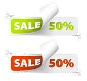 Red and green sale coupons Royalty Free Stock Images