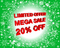 Red and green sale poster with LIMITED OFFER MEGA SALE 20 PERCENT OFF text. Advertising banner Stock Photos