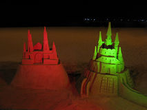 Red and green sand castle Stock Photography