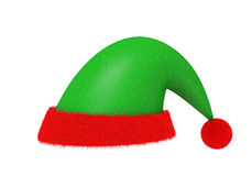 Red-green   Santa Claus  and fur hat isolated with clipping path. Red and green Santa's hat made from cloth and fur isolated on white with clipping path Stock Image