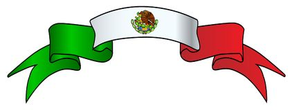 Mexican Flag Icon Satin Ribbon Royalty Free Stock Images