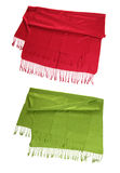 Red and green scarfs isolated on white Royalty Free Stock Photo