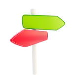 Red green signpost copyspace empty plates Royalty Free Stock Images
