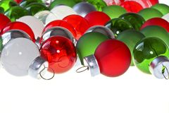 Red, green and silver christmas balls Royalty Free Stock Photos