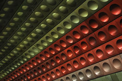 Red, green, silver wall in Prague metro station. Designed wall in Prague metro station tunnel, Mustek Royalty Free Stock Images