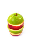 Red and green sliced apple Stock Photo