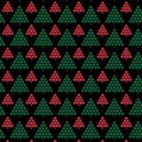 Red and green snowflake christmas trees on black background vector illustration