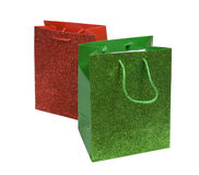 Red and green sparkling bags Stock Photos