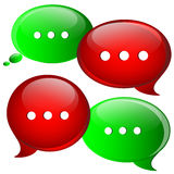 Red and green speech bubbles Stock Photography