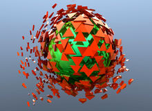 Red and Green Sphere Shattered Abstract 3d isolated. On background Royalty Free Stock Photography