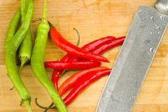 Red and green spicy chili peppers Stock Photography