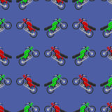 Red Green Sport Bike Seamless Pattern Stock Images