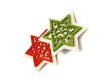 Red and green stars as Christmas ornaments Stock Photos