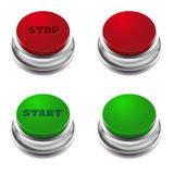 Red and green START/STOP button Stock Photos