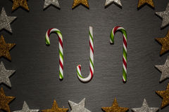 Red and green striped candy canes Stock Image