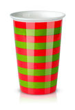Red and green striped cup without handle Stock Image
