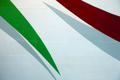Red and Green Stripes on Metal. Red and Green stripes are painted on metal Stock Photography
