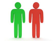 Red and green stylized person stand on white Royalty Free Stock Photography