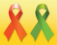 Red & green support ribbons Royalty Free Stock Image