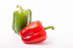Red and green sweet pepper isolated on white background Royalty Free Stock Images