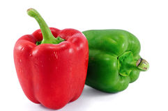 Red and green sweet pepper on a white background Stock Photography