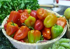 Red and green sweet peppers in a wicker basket stock photo