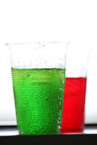 Red and green of sweetened beverages. Royalty Free Stock Photo