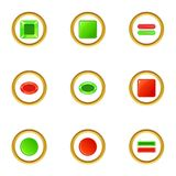 Red and green switch icons set, cartoon style Stock Photo