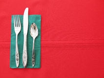 Red and Green Table Place Setting Background Royalty Free Stock Photos
