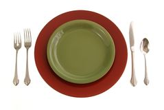 Red and Green Table Setting Stock Photography