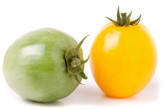 Red and green tomatoes isolated on white background.  Stock Image