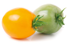 Red and green tomatoes isolated on white background.  Royalty Free Stock Photos