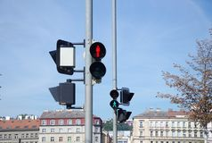 Red and green traffic light for pedestrians Royalty Free Stock Images