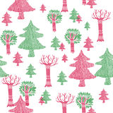 Red and green trees pattern Royalty Free Stock Photography