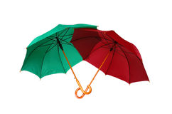 Red and green umbrellas Stock Image