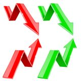 Red and green UP and DOWN arrows. Financial statistic 3d symbols. Vector illustration isolated on white background Stock Images