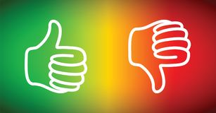 Up or down thumbs. Red and green up or down thumbs Stock Photos