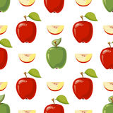 Red and green vector apples seamless pattern. Red and green vector apples in white background. Seamless pattern with fruits illustration Vector Illustration