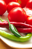 Red and green vegetables Stock Photos
