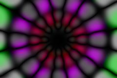 Multicolored radial circle dark pattern. Red, green, violet, grey and black radial circle pattern royalty free stock photo