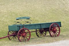 Red and green wagon. Red and green horse drawn wagon Royalty Free Stock Photos