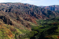 Red and green in Waimea canyon Stock Photography