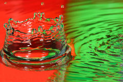 Red and Green water drop-splash-crown Stock Photo