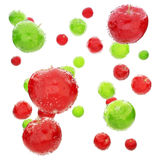 Red and green wet apple's . Stock Photo