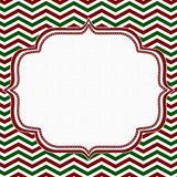 Red, Green and White Chevron Frame with Embroidery Background Stock Images