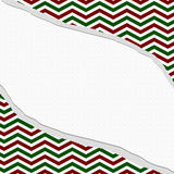 Red, Green and White Chevron Frame with Torn Background Stock Photography