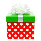 Red, green and white polka dot Christmas gift box isolated Royalty Free Stock Image