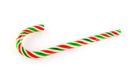Red,green and white striped candy cane. Isolated on white background Stock Images
