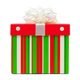 Red, green, white striped Christmas gift box with white bow Royalty Free Stock Photography