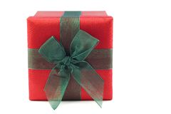 Red and Green Wrapped Gift Box stock photos